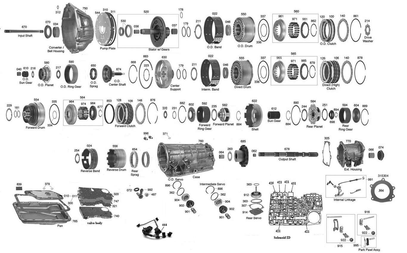 trans parts online a4ld 4r55 transmission parts  4r55e diagram 1999 #9