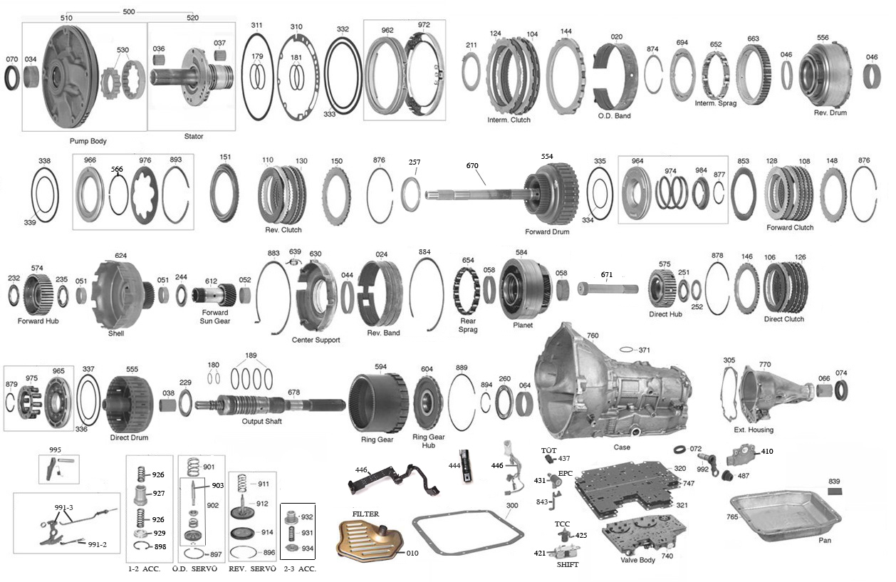 trans parts online aod 4r70 transmission parts 3T40 Transmission Diagram click on image to zoom