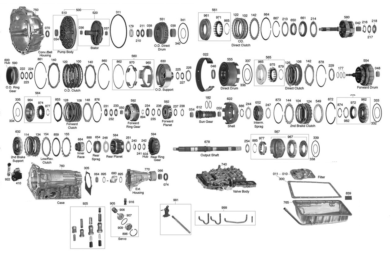 trans parts online a340 a340 transmission parts rh transpartsonline com 4L60E Transmission Exploded View Diagram Toyota Transmission V