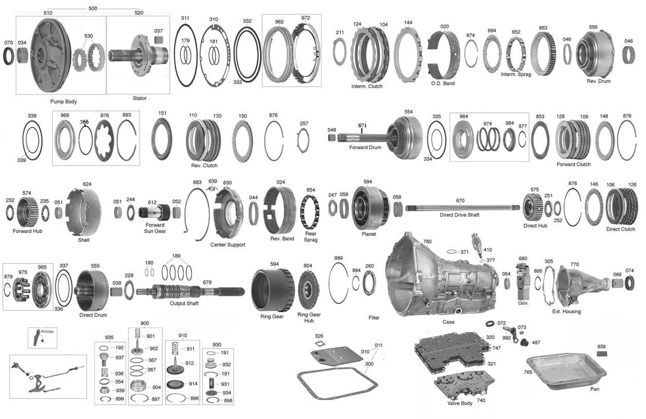 4l60e transmission exploded view diagram 4t60e
